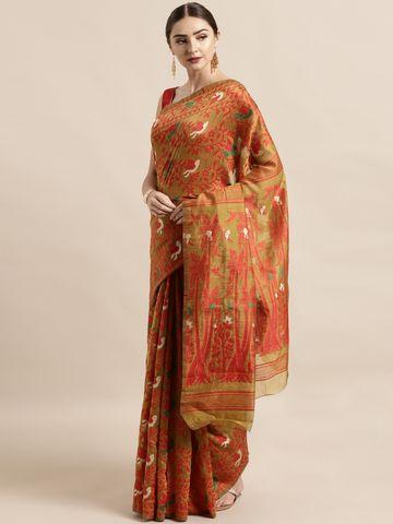 Vastranand | VASTRANAND  Mustard Yellow & Red Cotton Blend Woven Design Jamdani Saree