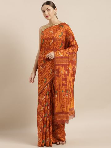 Vastranand | VASTRANAND  Maroon & Orange Cotton Blend Woven Design Jamdani Saree