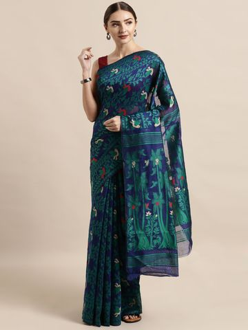 Vastranand | VASTRANAND  Navy Blue & Green Cotton Blend Woven Design Jamdani Saree