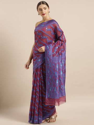 Vastranand | VASTRANAND  Burgundy & Blue Cotton Blend Woven Design Jamdani Saree