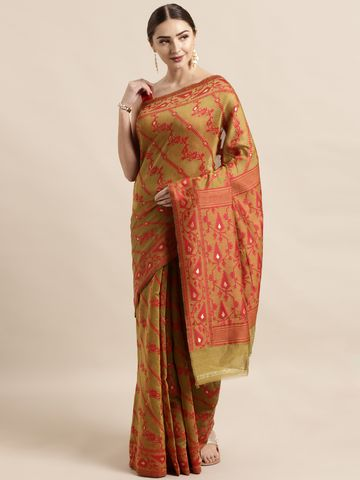 Vastranand | VASTRANAND  Olive Green & Red Cotton Blend Woven Design Jamdani Saree