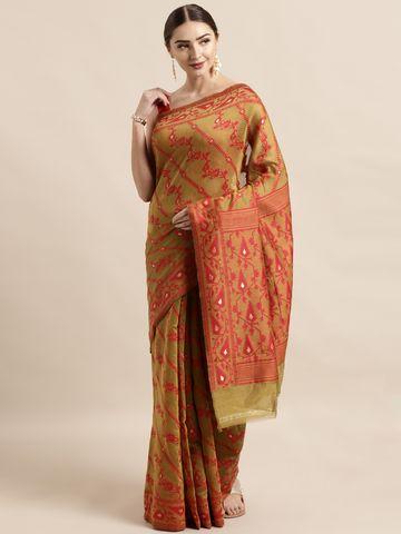 Vastranand | VASTRANAND  Olive Green & Red Cotton Blend Woven Design Jamdani Saree