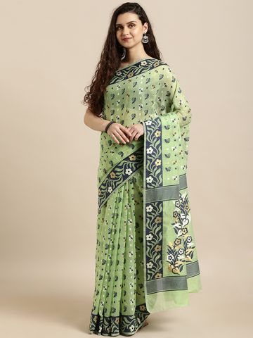 Vastranand | VASTRANAND  Green & Navy Blue Cotton Blend Woven Design Jamdani Saree