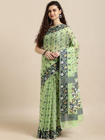 Vastranand | VASTRANAND  Green & Navy Blue Cotton Blend Woven Design Jamdani Saree