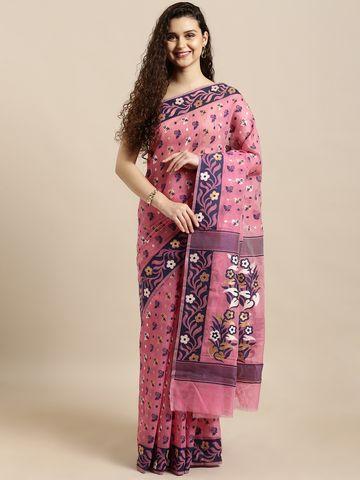 Vastranand | VASTRANAND  Pink & Navy Blue Cotton Blend Woven Design Jamdani Saree