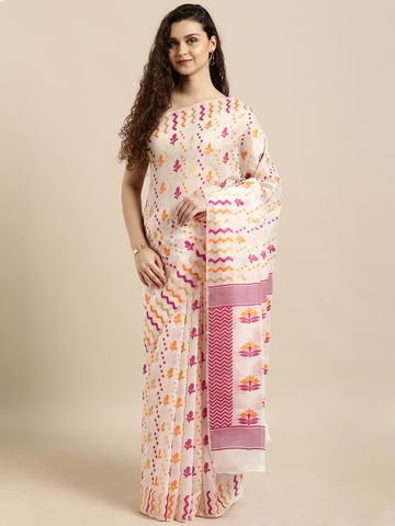 Vastranand | VASTRANAND  White & Orange Cotton Blend Woven Design Jamdani Saree
