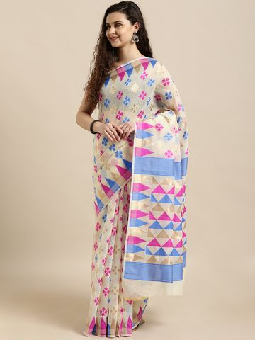 Vastranand   VASTRANAND  Cream-Coloured & Blue Cotton Blend Woven Design Jamdani Saree