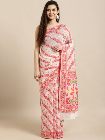 Vastranand | VASTRANAND  White & Red Cotton Blend Woven Design Jamdani Saree