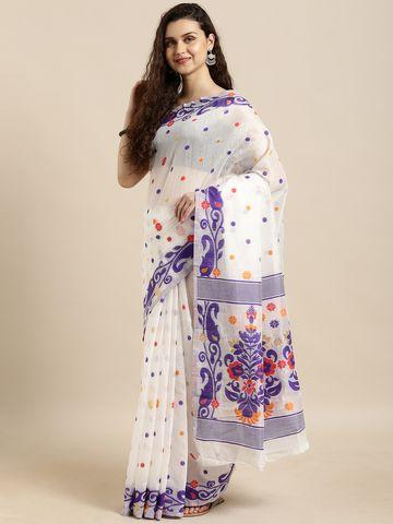 Vastranand | VASTRANAND  White & Purple Cotton Blend Woven Design Jamdani Saree