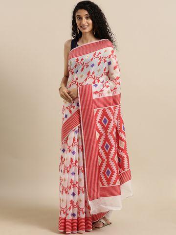 Vastranand | VASTRANAND  White & Red Cotton Blend Woven Design Jamdani Saree
