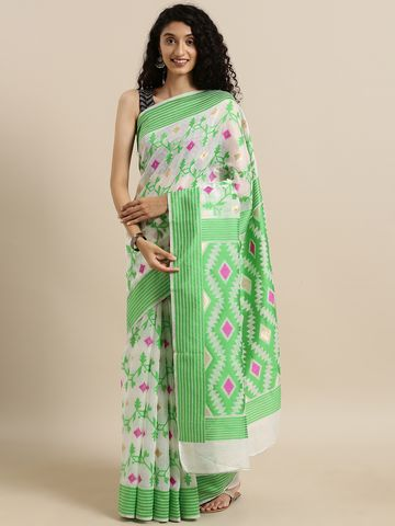 Vastranand | VASTRANAND  White & Green Cotton Blend Woven Design Jamdani Saree