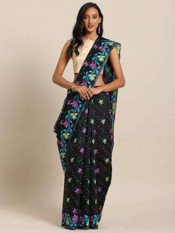 Vastranand | VASTRANAND  Black & Pink Cotton Blend Printed Dhakai Jamdani Saree