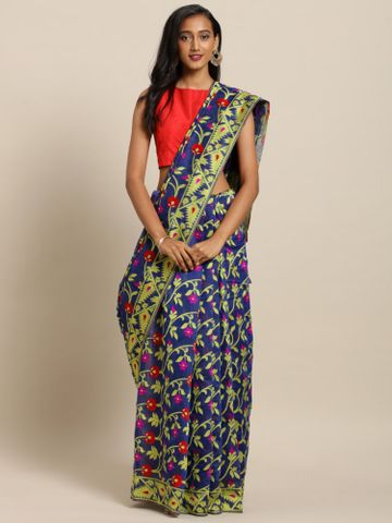 Vastranand | VASTRANAND  Blue & Green Cotton Blend Printed Jamdani Saree