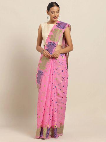 Vastranand | VASTRANAND Pink & Green Cotton Blend Printed Jamdani Saree