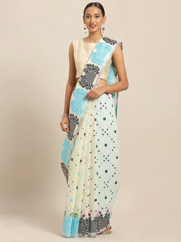 Vastranand | VASTRANAND White & Blue Cotton Blend Printed Jamdani Saree