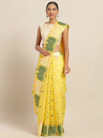 Vastranand | VASTRANAND Yellow & Green Cotton Blend Printed Jamdani Saree