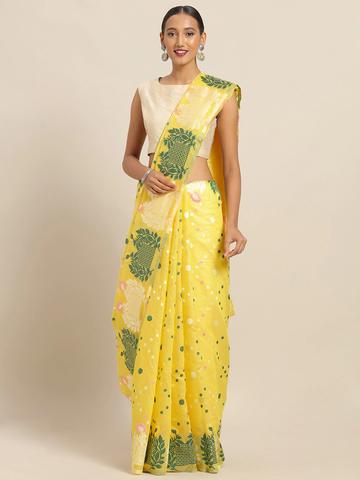 Vastranand | VASTRANAND Yellow & Green Cotton Blend Printed Jamdani Saree