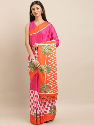 Vastranand | VASTRANAND  Pink & Orange Linen Blend Printed Ikat Saree