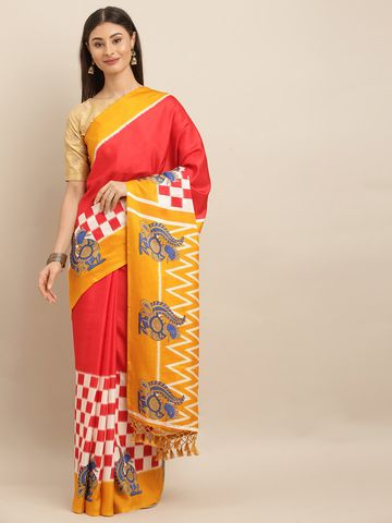 Vastranand | VASTRANAND  Red & Yellow Linen Blend Checked Ikat Saree