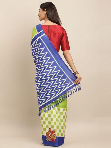 Vastranand | VASTRANAND  Green & Blue Linen Blend Printed Ikat Saree