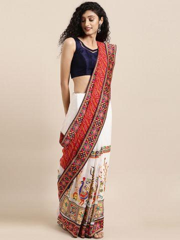 Vastranand | VASTRANAND  White & Red Georgette Embroidered Bandhani Saree