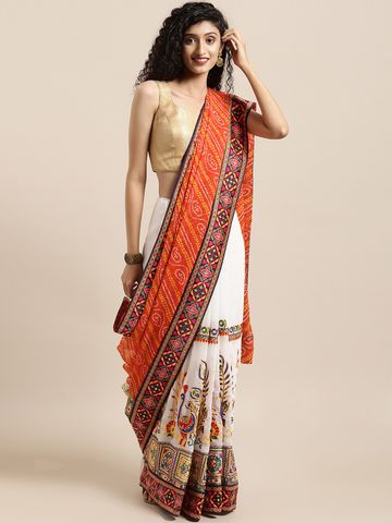 Vastranand | VASTRANAND  White & Orange Georgette Embroidered Bandhani Saree
