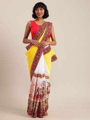 Vastranand | VASTRANAND  Yellow & White Georgette Embroidered Saree