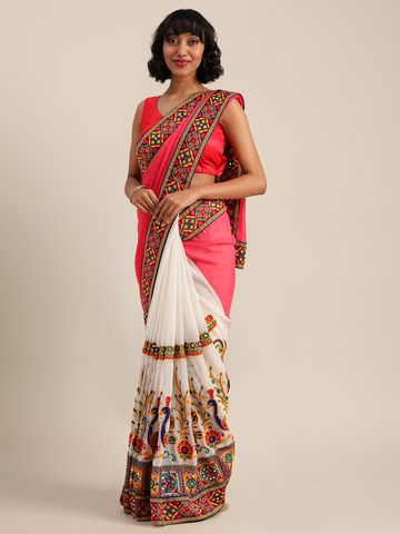 Vastranand | VASTRANAND  Pink & White Georgette Embroidered Saree