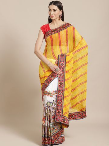 Vastranand | VASTRANAND  Yellow & White Printed Half & Half Bandhani Saree with Kutchi Embroidery