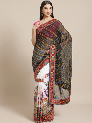 Vastranand | VASTRANAND  Black & White Kutchi Embroidered Half and Half Bandhani Saree