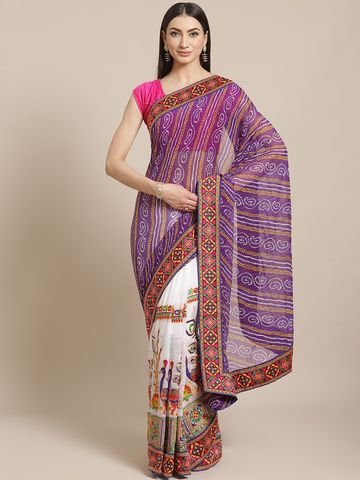 Vastranand | VASTRANAND  Purple & White Kutchi Embroidered Half and Half Bandhani Saree
