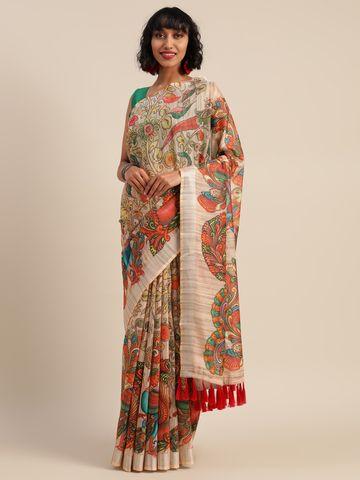 Vastranand | VASTRANAND  Multicoloured Linen Blend Kalamkari Printed Banarasi Saree