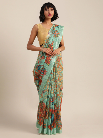 Vastranand | VASTRANAND  Sea Green & Peach-Coloured Linen Blend Printed Saree