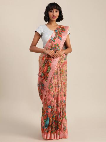 Vastranand | VASTRANAND  Pink & Yellow Linen Blend Kalamkari Printed Banarasi Saree