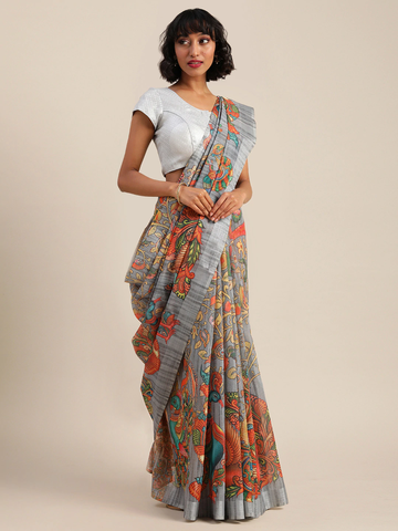 Vastranand | VASTRANAND  Grey & Orange Linen Blend Kalamkari Printed Banarasi Saree