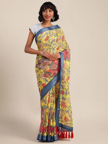 Vastranand | VASTRANAND  Yellow & Red Linen Blend Kalamkari Printed Banarasi Saree