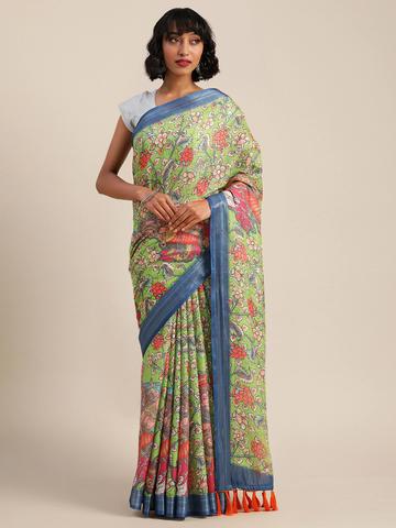 Vastranand   VASTRANAND  Green & Red Linen Blend Kalamkari Printed Banarasi Saree
