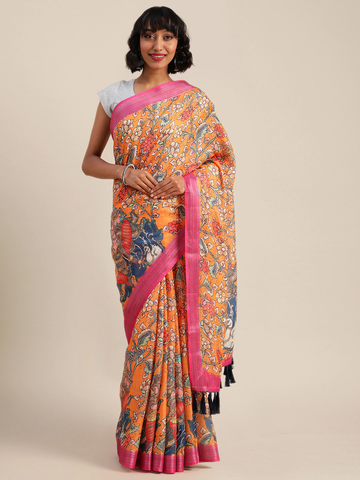 Vastranand | VASTRANAND  Orange & White Linen Blend Kalamkari Printed Banarasi Saree