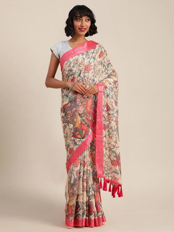 Vastranand | VASTRANAND  Cream-Coloured & Red Linen Blend Kalamkari Printed Banarasi Saree