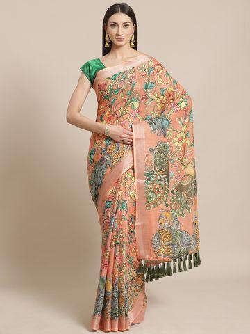 Vastranand | VASTRANAND  Orange & Green Kalamkari Peacock Print Saree