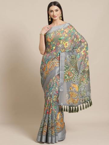 Vastranand | VASTRANAND  Grey & Mustard Yellow Kalamkari Peacock Print Saree