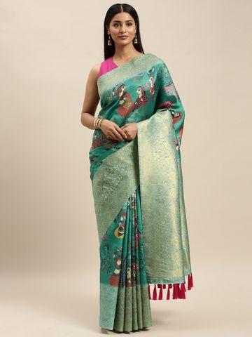 Vastranand | VASTRANAND Green Silk Blend Printed Banarasi Saree
