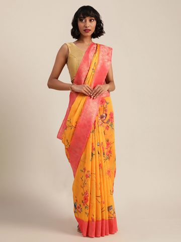Vastranand | VASTRANAND  Yellow & Pink Silk Blend Printed Saree