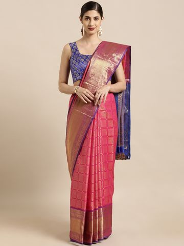 Vastranand   VASTRANAND  Pink & Golden Silk Blend Woven Design Kanjeevaram Saree