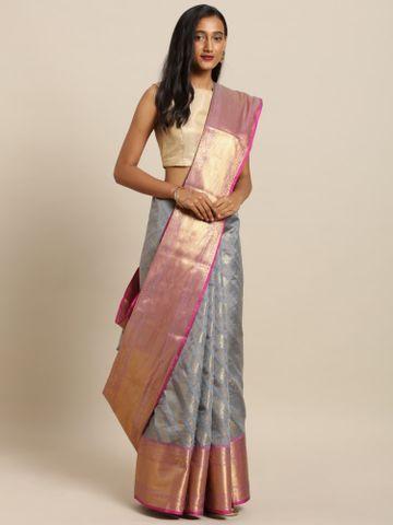 Vastranand | VASTRANAND  Grey & Pink Silk Blend Woven Design Wedding Kanjeevaram Saree