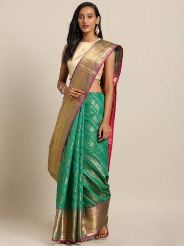 Vastranand | VASTRANAND  Green Silk Blend Woven Design Kanjeevaram Saree