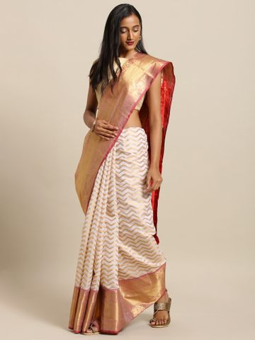 Vastranand | VASTRANAND  White & Gold-Coloured Silk Blend Woven Design Wedding Kanjeevaram Saree