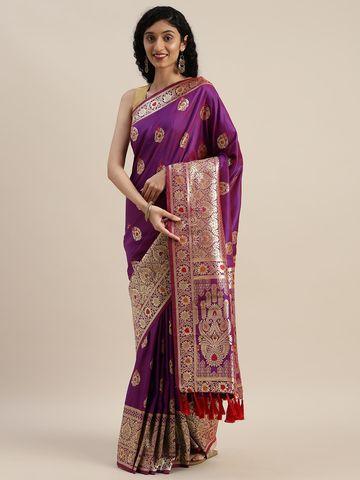 Vastranand   VASTRANAND  Purple & Golden Silk Blend Woven Design Kanjeevaram Saree