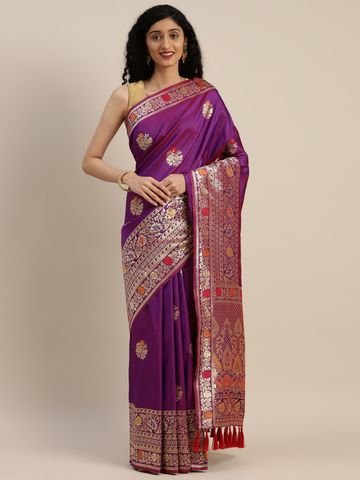 Vastranand   VASTRANAND  Purple & Gold-Toned Silk Blend Woven Design Kanjeevaram Saree