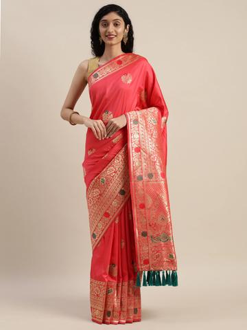 Vastranand | VASTRANAND  Pink & Gold-Toned Silk Blend Woven Design Kanjeevaram Saree